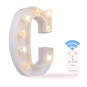 Obrecis LED Letter Lights White Marquee Letters Alphabet Light Up Sign with Diamond Bulbs Remote Control Timer Dimmable Wedding Birthday Party Decoration Letters (C)