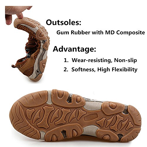 LikeYou Shoes Breathable Mesh Summer Outdoor Shoes New Style Men's Athletic Shoes Climbing Hiking Shoes Suitable for all kinds of Sports (9UK /27.5CM, Brown)