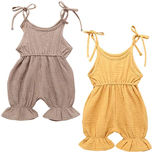 (REWANGOING 2 Pack of Baby Infant Kids Girl Sleeveless Ruffle One Piece Bodysuits Jumper Jumpsuit Clothes Outfits)
