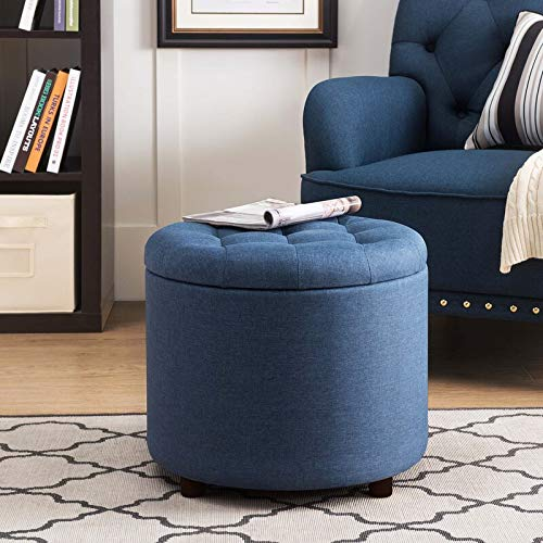 Adorn Homez 1 Seater Tufted Zora Round Ottoman Pouffe with Storage in Fabric    Blue   Standard, Blue