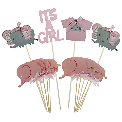 Shxstore Pink Elephant Cake Topper Baby Elephant Themed Cupcake Picks It Is A Girl Baby Shower Birthday Party Decorations Supplies