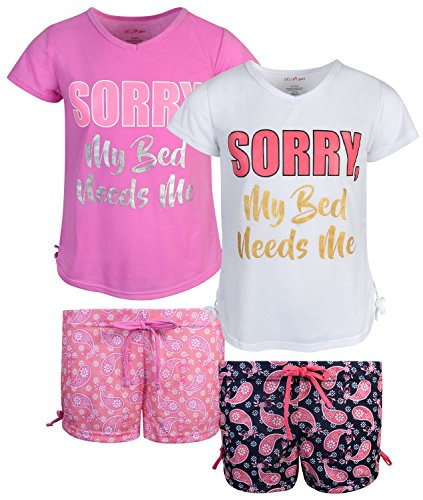dELiAs 2-Pack Girls Pajama Sleepwear Short Set (2 Full Sets) (14/16, Bed Needs Me)'