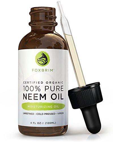 Foxbrim 100% Pure USDA Organic Neem Oil, Cold Pressed -