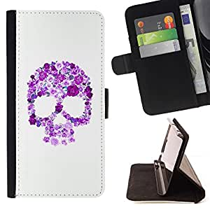 Momo Phone Case / Flip Funda de Cuero Case Cover - Cráneo floral púrpura rosada blanca Primavera - HTC One M7