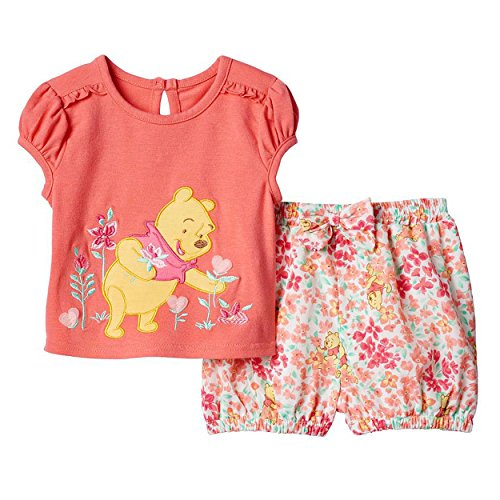 [Disney Cartoon Characters Baby-Girl Short Set (24M, Pooh Coral)] (Movie Character Outfits)