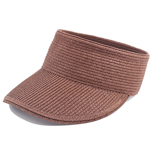 Women Straw Sun Visor Adjustable Wide Brim Roll Up Striped Beach Casual Cap Brown