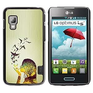For LG Optimus L5 II Dual E455 E460 Case , Spring Birds Woman Girl Relief - Diseño Patrón Teléfono Caso Cubierta Case Bumper Duro Protección Case Cover Funda