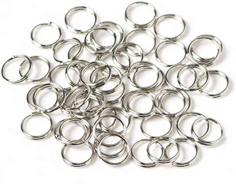 LASSUM 200PCS 10mm Double Loops Round Split Jump Rings Wire Connector for Jewelry Making,Silver