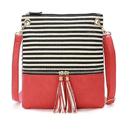 (DukeTea Striped Medium Crossbody Bags for Women, Canvas + Faux Leather Crossover Purse for Teen Girls Red )