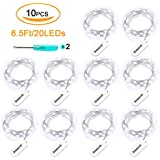 10PCS Fairy Lights,20pcs 2032 Batteries,6.5Ft Fairy String Lights 20 LED String Lights for Home,Party, Wedding Table Decoration(Daylight White)