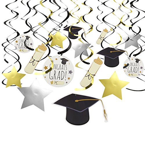 30-Count Graduation Swirl Decorations - Party Decorations, Ceiling Streamers, Hanging Whirls Party Supplies, Gold, Silver, and Black