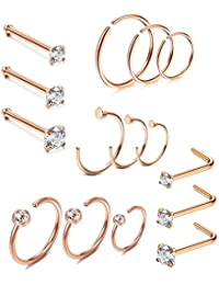 15 Pcs 20G Stainless Steel Nose Ring CZ L-Shaped Hoop Piercing for Men Women