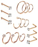 Thunaraz 15PCS Stainless Steel Nose Ring CZ L-shaped Hoop Piercing For Men Women Rose Gold Tone