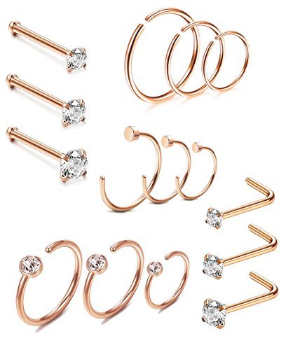 Thunaraz 15PCS Stainless Steel Nose Ring CZ L-shaped Hoop Piercing For Men Women Rose Gold Tone ()