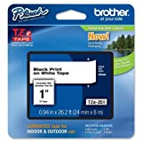 Brother TZ 1'' Laminated Tape Cartridge-Lettering Tape, 1'' Size, Black/White