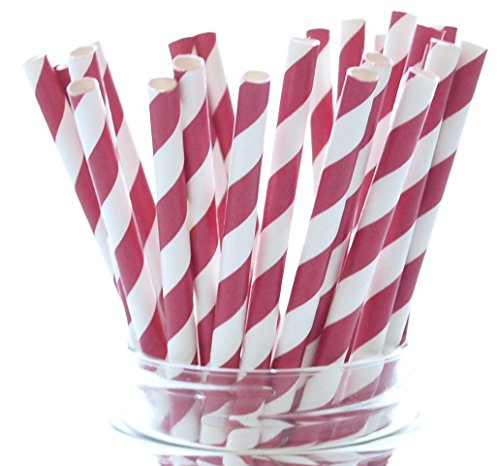 Red Candy Cane Stripe Christmas Straws - 25 Pack - Paper Wedding Straws, Gourmet Holiday Straws, Red Striped Straws