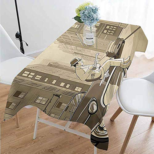 Playyee Jazz Music Easy to Care for Leakproof and Durable Long tablecloths Illustration of a Guitarist in an Old Street of New York Buildings Music Cityscape Outdoor Picnic W54 x L108 Inch Beige