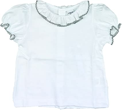 Camiseta bebé/niña Blanca con Volante en el Cuello y ribeteada en Gris: Amazon.es: Ropa y accesorios