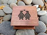 Custom engraved music box with love penguins on the top, great gift for anniversary or valentines day