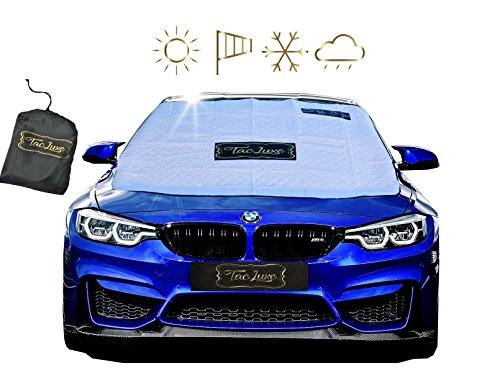 "TacLuxe Windshield Cover - Sun Shade For Sun Snow Rain Ice Wind Premium Magnetic UV Car Protector - Extra Large (60"" x 50"") & Anti-Theft, Fits Most Car-s, SUV-s, Mini-Vans and Pick-Up Truck-s"