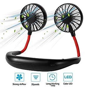 Portable Neck Fan, SEASKY Upgraded Personal Fans Mini USB Fans Hand Free Neck Fan Rechargeable, Bladeless Fans 360° Free…
