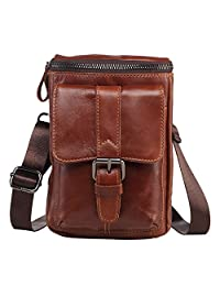 Sunmig Genuine Leather Small Messenger Shoulder Bag Crossbody Belt Pouch for Travel Hiking Camping Outdoor (9301)