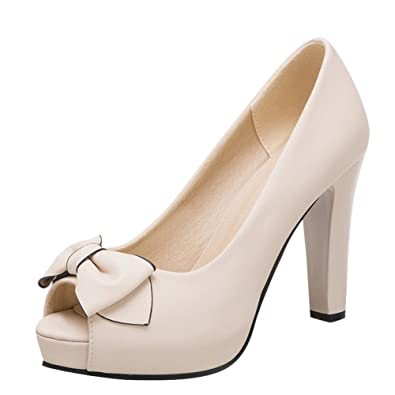Mee Shoes Damen High Heels Peep Toe mit Schleifen Pumps (35, Beige)
