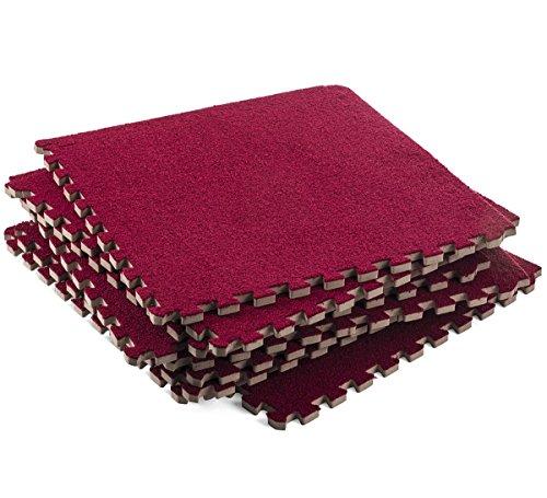 Dooboe Foam Mat - Interlocking Foam Mats – Interlocking Floor Mats - Interlocking Floor Tiles - Carpet Tiles – Burgundy – Non-Toxic, Anti-Fatigue, Premium Puzzle Floor Mat with Borders