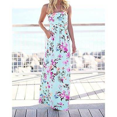 0479de805c Femmes Robes Tropical Longue Robe De Plage Maxi Robe Bustier Imprimé Floral  Bandeau sans Bretelle