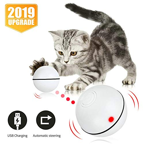 Pakoo Interactive Cat Toys Ball, Smart Automatic Rolling Kitten Toys, USB Rechargeable Motion Ball + Spinning Led Light…