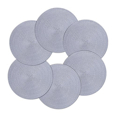 Round Placemats Furnily Round Braided & Woven, Indoor/Outdoor Placemat,15 Inches Round Table Mats,Set of 6 (Grey) by Furnily (Image #7)'