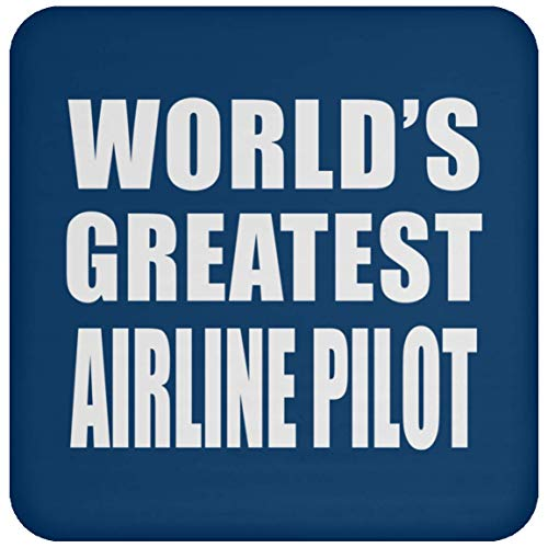 (Designsify World's Greatest Airline Pilot - Drink Coaster Royal/One Size, Non Slip Cork Back Protective Mat, Best Funny Gag Gift Idea for Birthday Bday Christmas Xmas Anniversary)