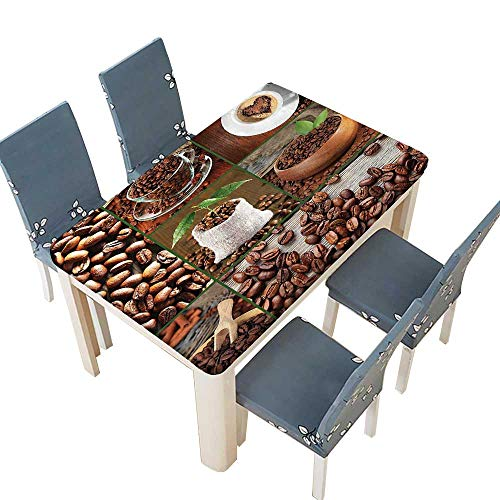 PINAFORE Polyester Tablecloth Brown Collage of Coffee Beans in Cups and Bags with Green Leaves Easy Care Spillproof W33.5 x L73 INCH (Elastic Edge)