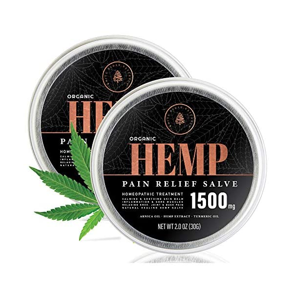 (2 Pack) Organic Hemp Salve for Pain Relief – 1500MG – Hemp Oil Extract Infused for Back, Joint & Muscle Support – Made with Arnica Montana, Aloe Leaf, Shea Butter & Turmeric – 2oz