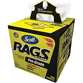 Scott Pro Grade Rags In A Box (39364), Shop Towels for Solvents & Heavy-Duty Jobs, White, 200 Wipes / POP-UP Box