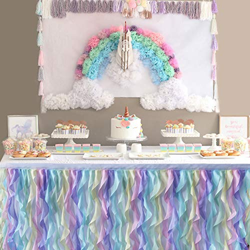 Rainbow Unicorn Curly Willow Table Skirting Mermaid 6ft Lace Taffeta Table Skirt Tutu Tulle Table Skirt for Round or Rectangle Table for Birthday, Wedding, Party Decoration Supplies