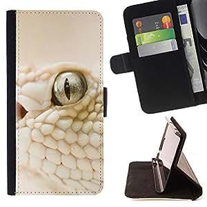 BullDog Case - FOR/Samsung Galaxy S6 EDGE / - / White Snake Macro /- Monedero de cuero de la PU Llevar cubierta de la caja con el ID Credit Card Slots Flip funda de cuer