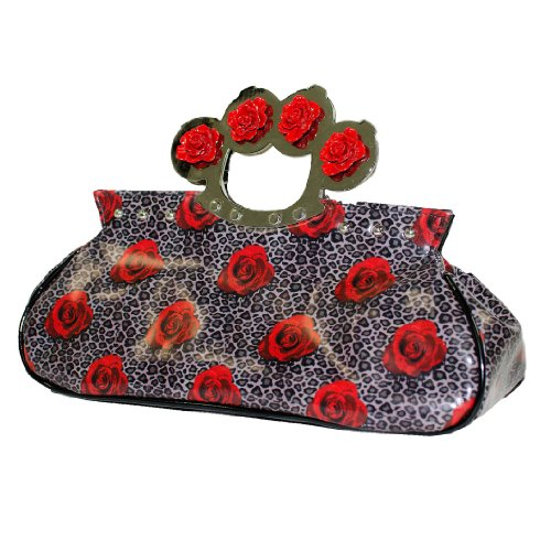 à ROSES Main Brand amp; LEOPARD Sac noir Too Fast BAG KNUCKS Hq7wwt