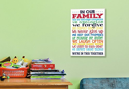Stupell Home Décor In Our Family Rainbow Typog Wall Plaque Art, 10 x 0.5 x 15, Proudly Made in USA