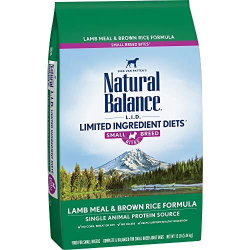 - Natural Balance Small Breed Bites L.I.D. Limited Ingredient Diets Dry Dog Food, Lamb Meal & Brown Rice Formula, 12-Pound