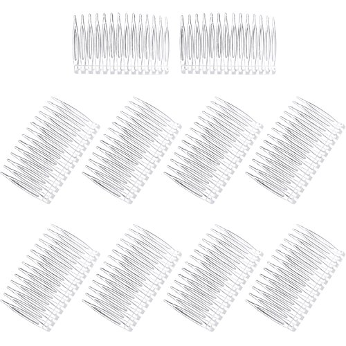 Pangda 10 Pieces Hair Clip Combs 14 Teeth Plastic Bridal Wedding Veil Combs, Clear