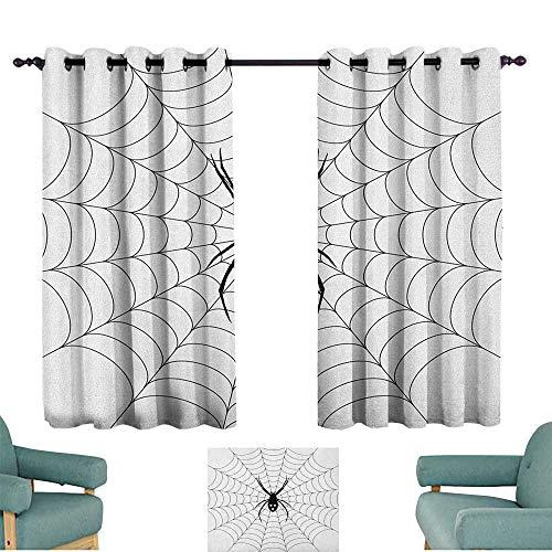 ParadiseDecor Spider Web,Girs Room Backout Curtains Poisonous Bug Venom Thread Circular Cobweb Arachnid Cartoon Halloween Icon 52