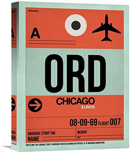 "Naxart Studio ""ORD Chicago Luggage Tag 2"" Giclee on Canvas, 12"" by 1.5"" by 16"" from Naxart Studio"