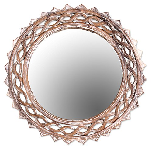 NOVICA Shabby Chic Wood Wall Mounted Mirror, Natural Or White 'Eternal Shine'