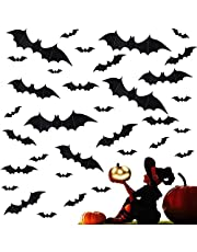 72Pcs Halloween Decoration 3D Bats Decorations, 4 Sizes Realistic PVC Scary Bats Window Decal Wall Stickers for DIY Home Bathroom Indoor Hallowmas Decoration Party Supplies