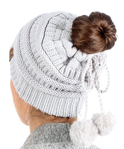 - MIRMARU Women's Ponytail Messy Bun Beanie Ribbed Knit Hat Cap with Adjustable Lovely Pom Pom String (Light Grey)