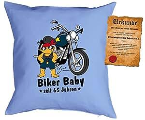Cojín Cumpleaños: Biker Baby desde 65años–Set de regalo con Gratis Escrituras–Cojín, sofá–Color Azul Claro