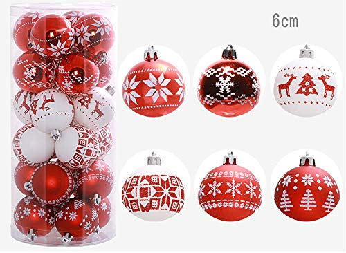 Sameno Christmas Ball,Christmas Tree Decoration Miniature Christmas Ball Tower Tree Top Star Christmas (Red White (24pcs))