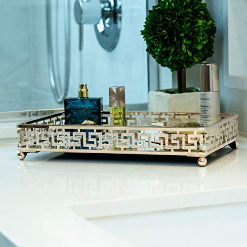 Lucaslo Glamor Gold Vanity Mirror Tray| Bathroom Organizer| Coffee Table Tray| Jewelry -