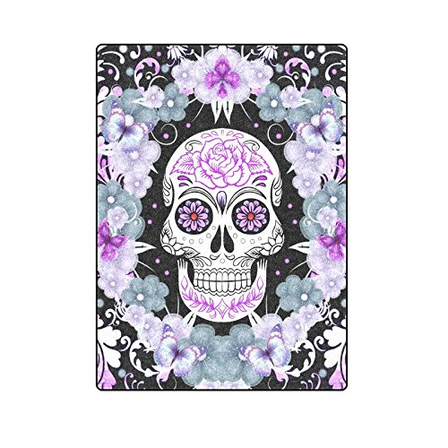 Sugar Skull and Flowers Unique Throw Blanket